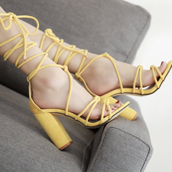 Lace-Up Heel Covering Open Toe Chunky Heel Yellow Cross Strap Sandals