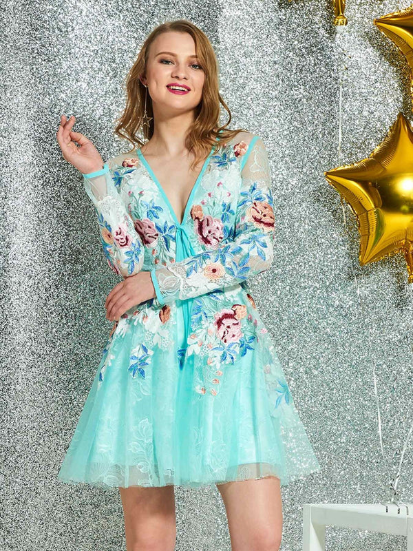 V-Neck A-Line Long Sleeves Appliques Cocktail Dress