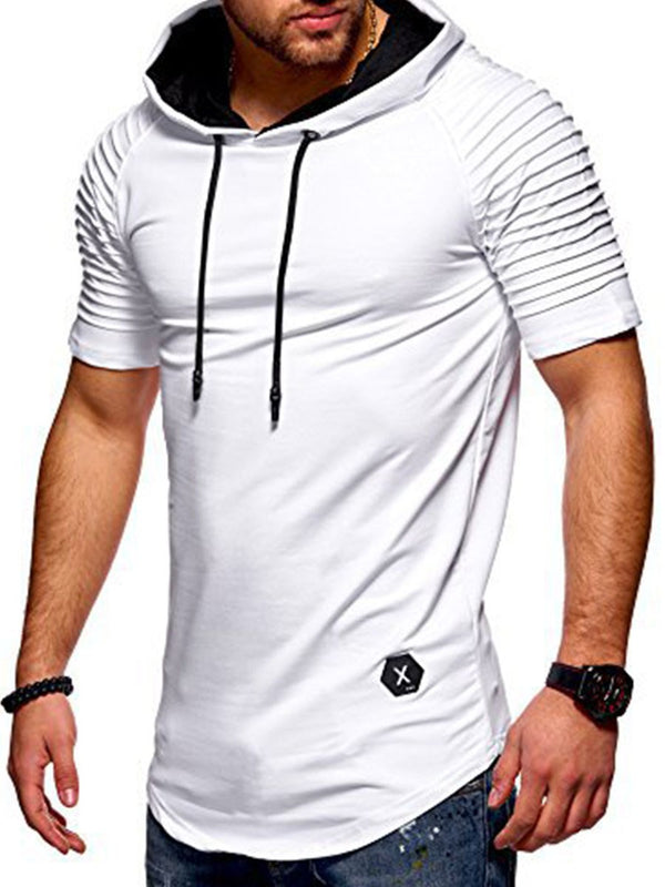 Shirred Plain Hooded Men's T-Shirt