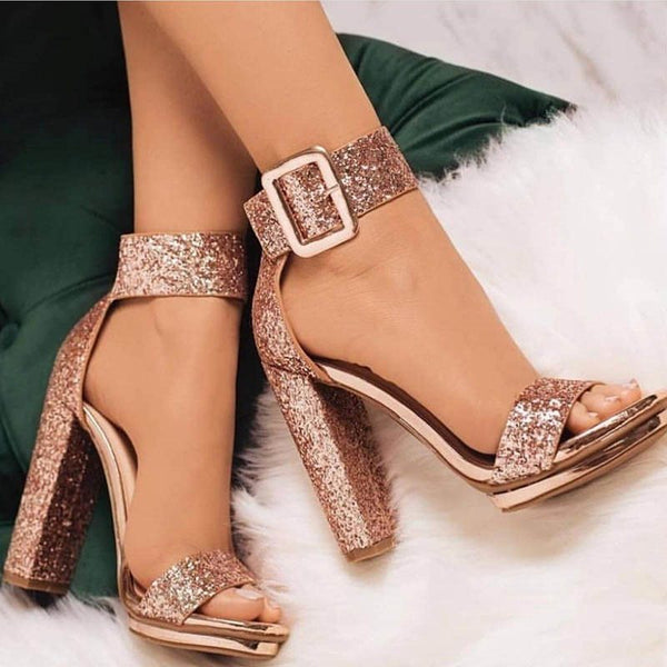 Line Style Sequins Heel Covering Summer Chunky Heel Sandals