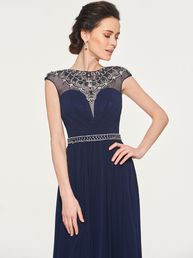 Bateau Floor-Length A-Line Cap Sleeves Mother Of The Bride Dress with Beading