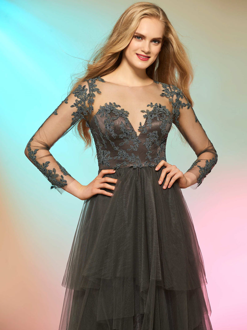 Long Sleeves A-Line Button Floor-Length Prom Dress