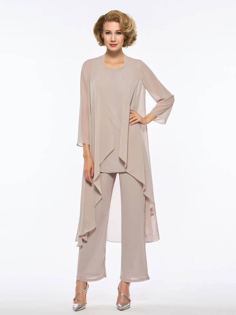 Best Seller Sheath/Column Scoop Chiffon Mother Of The Bride Suit With 3/4 Length Sleeves Jacket