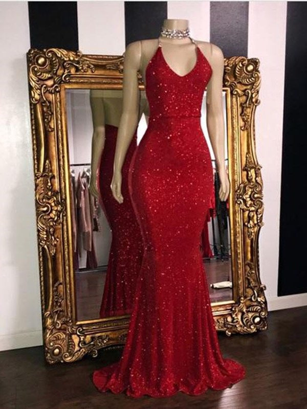 Spaghetti Straps Trumpet/Mermaid Sleeveless Red Long Reflective Prom Dress