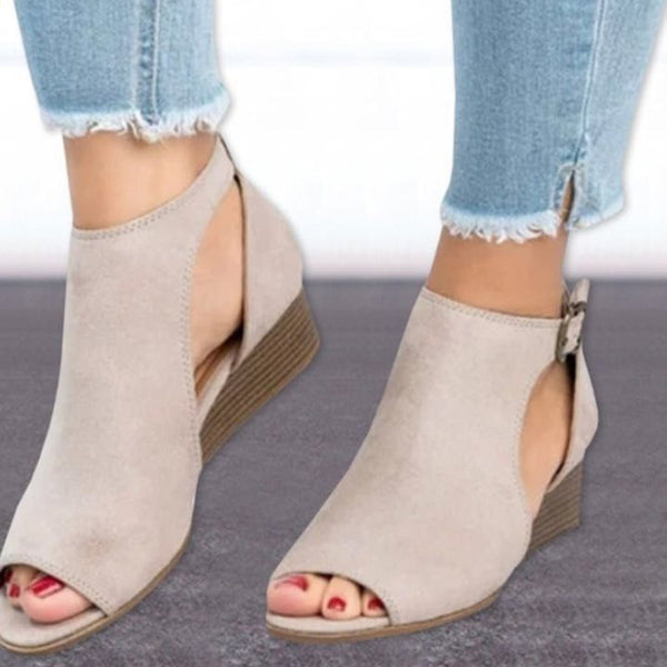 Buckle Peep Toe Wedge Heel 4cm Casual Women's Shoes Suede Sandals