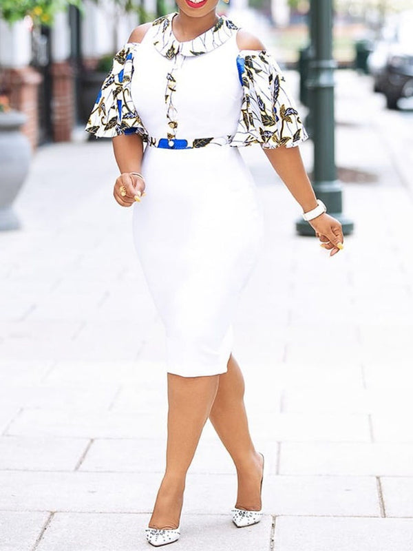Print Mid-Calf Half Sleeve Off-The-Shoulder White Bodycon Dress