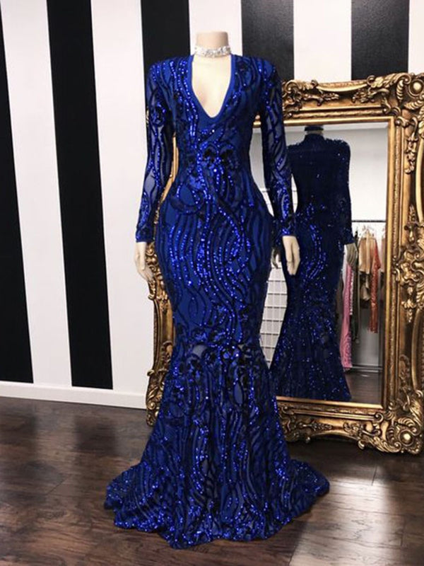 Sequins Long Sleeves V-Neck Trumpet/Mermaid Formal Dress