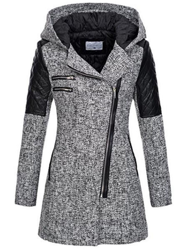Color Block Hooded Patchwork Zipper Women's Jacket