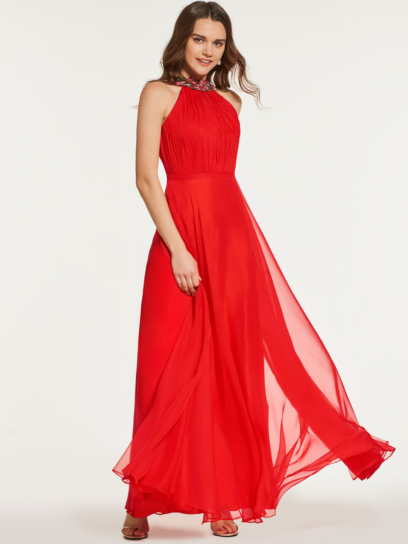 A-Line Sleeveless Sashes/Ribbons Floor-Length Prom Dress