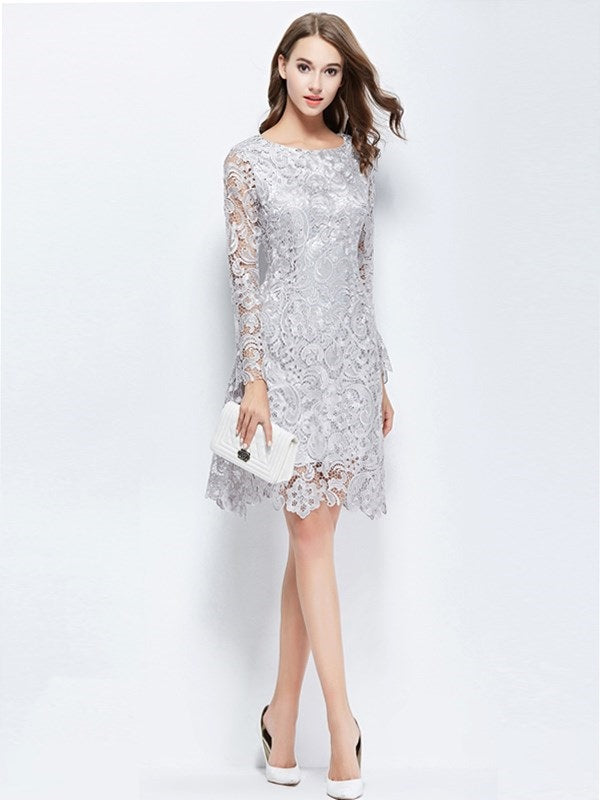Sheath/Column Long Sleeves Scoop Lace Cocktail Dress