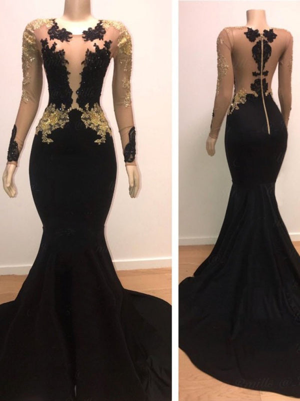 Appliques Long Sleeves Floor-Length Black Evening Dress