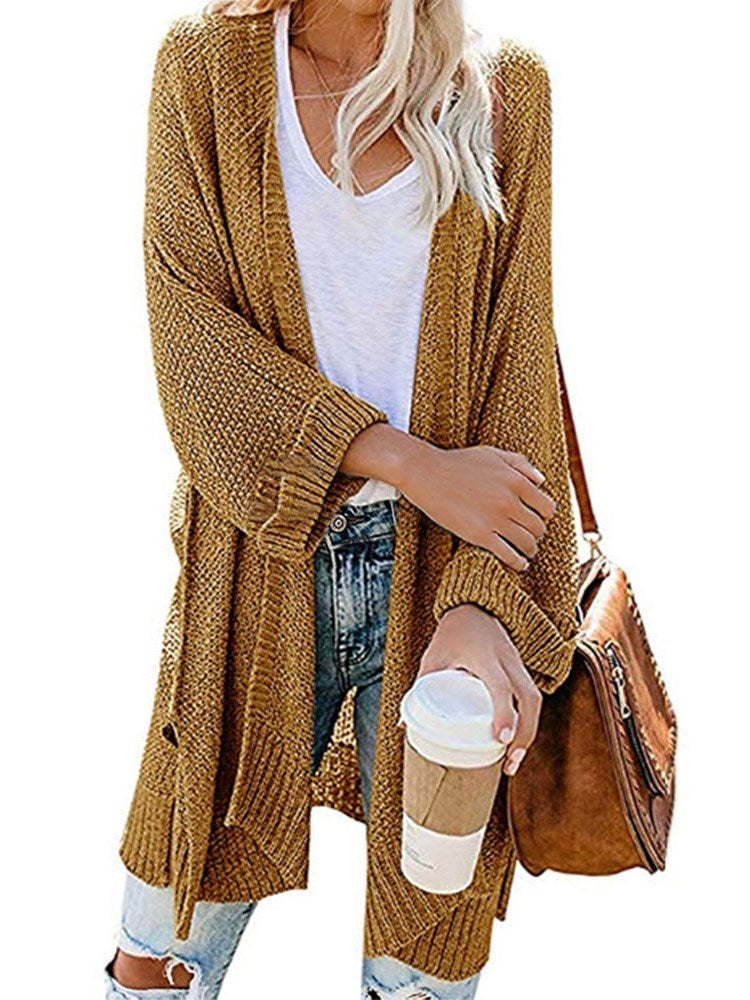 Wrapped Long Sleeve Mid-Length Cardigan Sweater