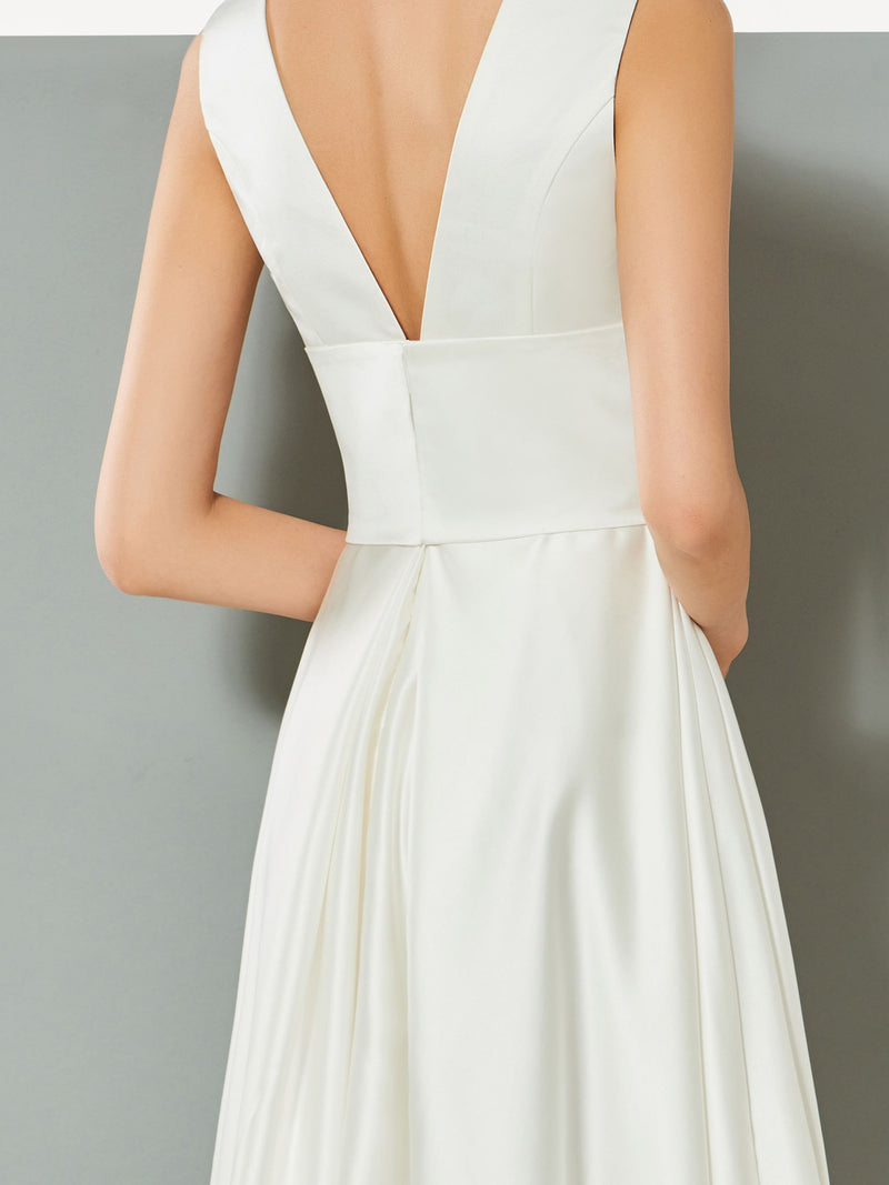 Sleeveless Ankle-Length A-Line V-Neck Evening Dress