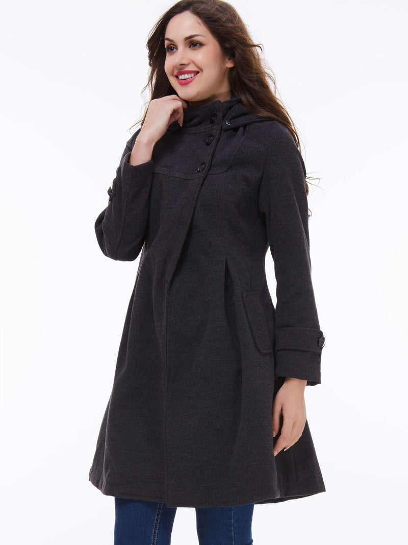Hooded Slim Pleated Asymmetric Women's Trench Coat