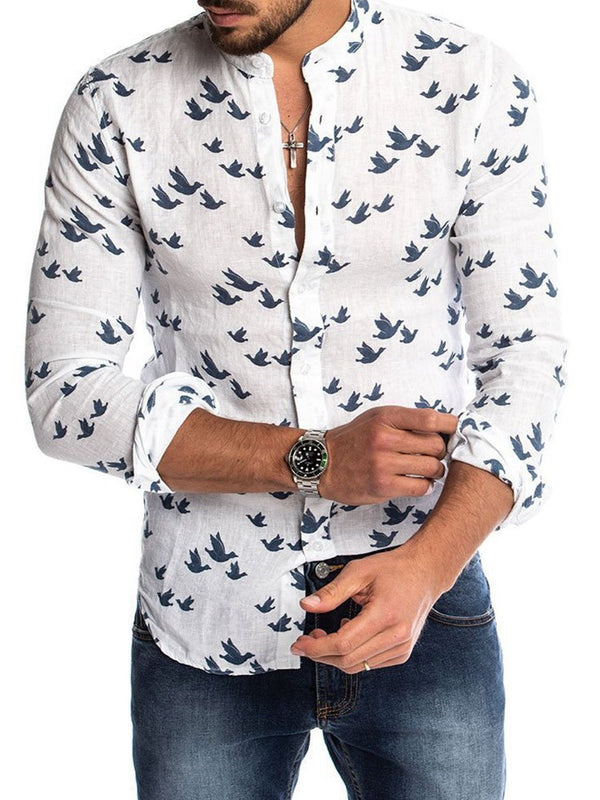 Color Block Button Casual Spring Single-Breasted Men's Shirt