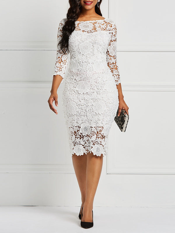 Knee-Length Hollow Three-Quarter Sleeve Floral Lace Dress