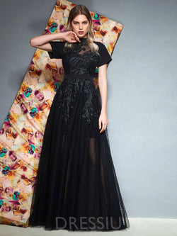Floor-Length A-Line Appliques Short Sleeves Prom Dress