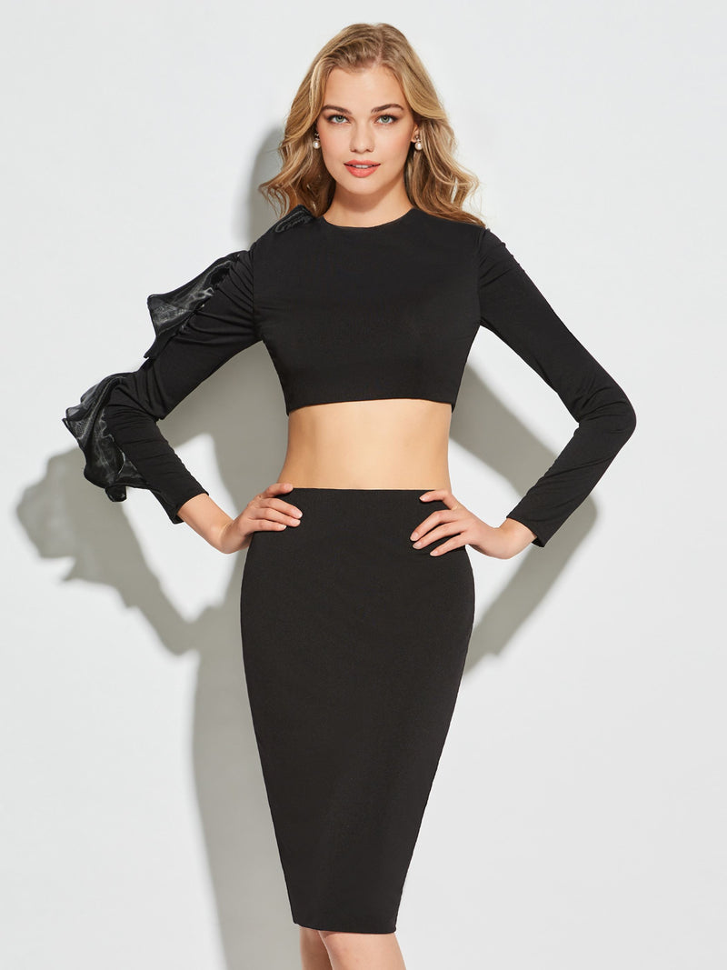 Black Two Piece Scoop Short/Mini Sheath/Column Long Sleeves Cocktail Dress