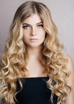 Women S Most Dazzling Curly Ombre Blonde Hairstyles Synthetic Hair Wigs Lace Front Cap Wigs 26inch