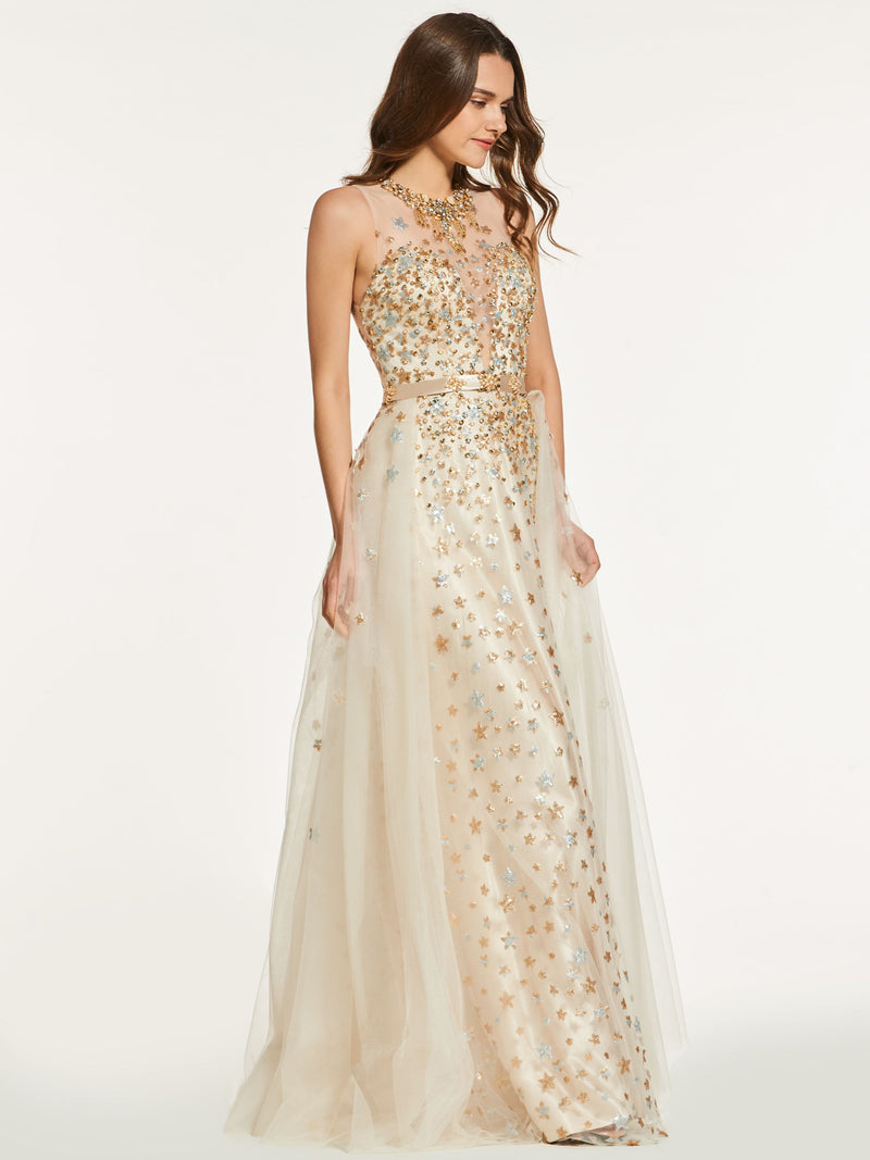 Halter Button Floor-Length Sleeveless Prom Dress