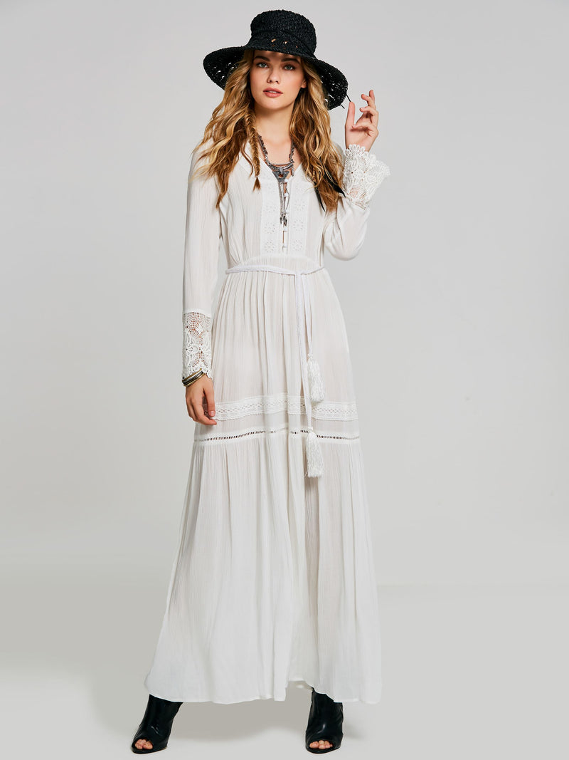 Lace Ankle-Length Long Sleeve Plain White Maxi Dress
