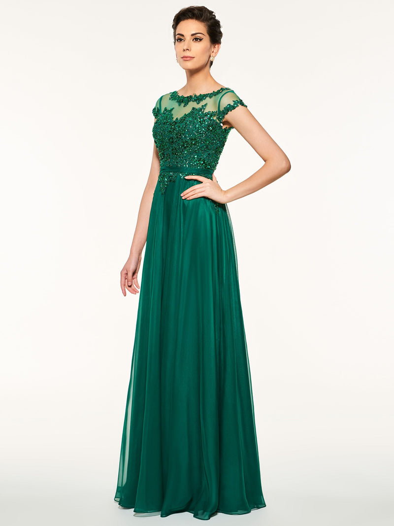 A-Line 30D Chiffon Appliques Floor-Length Mother Of The Bride Dress