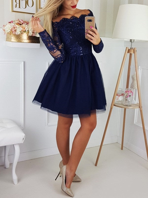Beading Short/Mini Long Sleeves A-Line Cocktail Dress