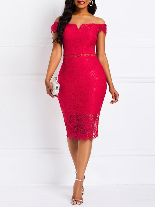 Short Sleeve Mid-Calf Lace Plain Pullover Dress