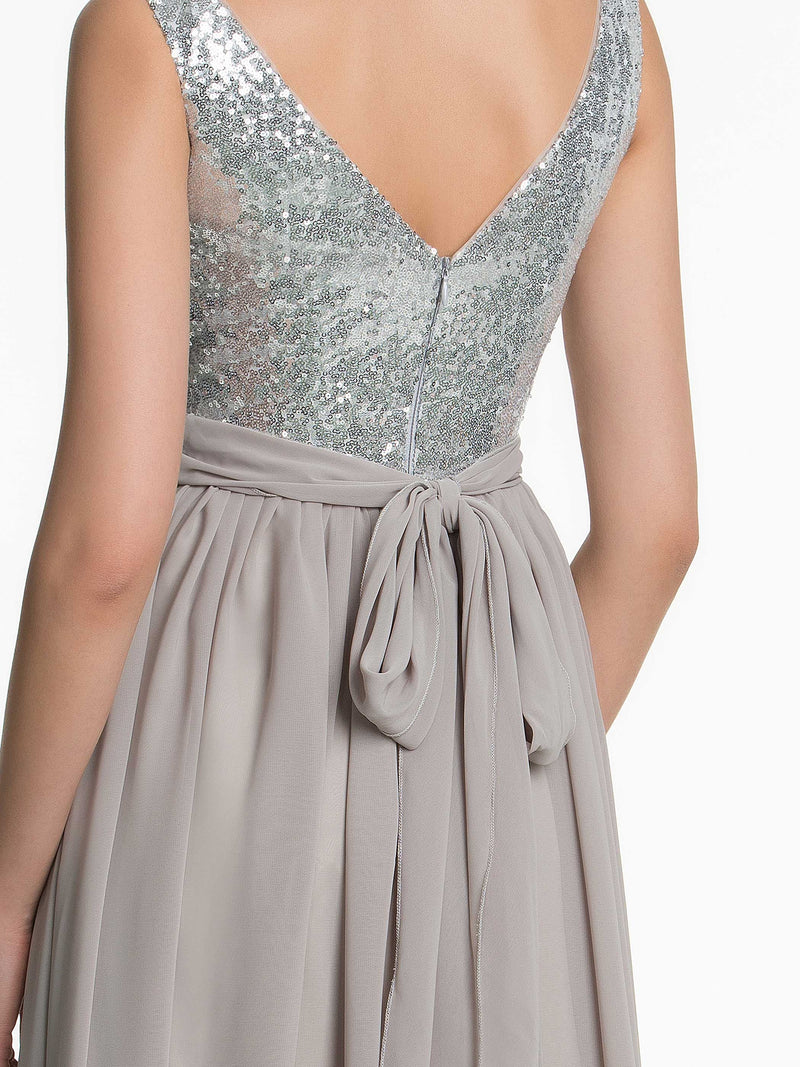Sleeveless Floor-Length Sequins A-Line Bridesmaid Dress