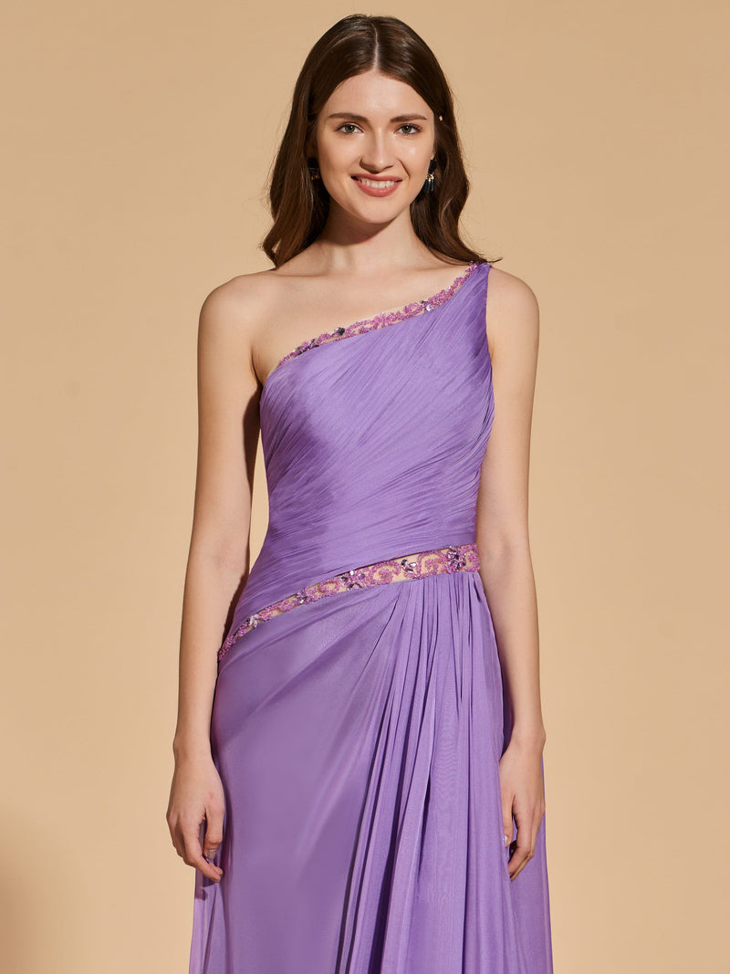 Sleeveless Sheath/Column Floor-Length Beading Prom Dress