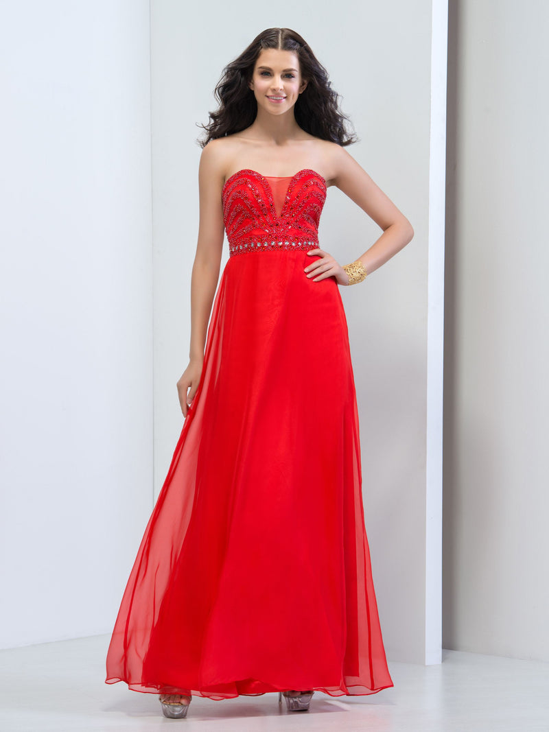 Sequins Floor-Length Sweetheart A-Line Prom Dress