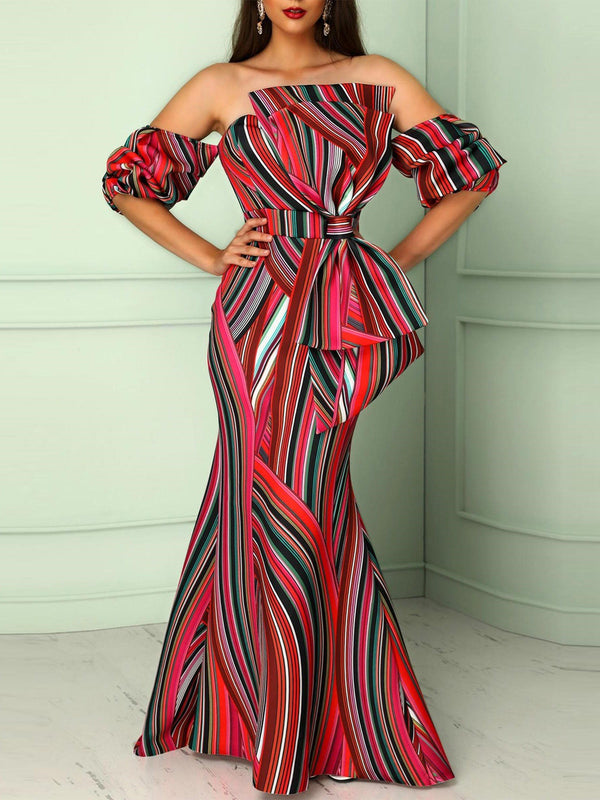 Half Sleeve Off-The-Shoulder Stripe Maxi Dress with Bowknot