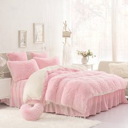 Cute Pink Four-Piece Bedding Set Girl Favorite Suede Duvet Cover Set
