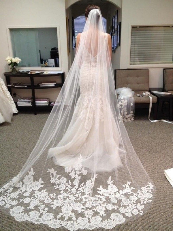 Cathedral Train Applique Edge One-Layer Wedding Veil