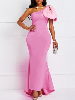 Pink Sleeveless Oblique Collar Bowknot Mermaid Dress