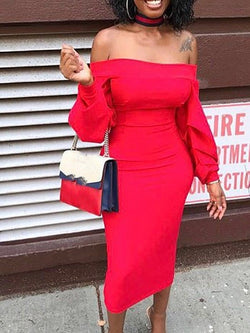Off Shoulder Long Sleeve Red Bodycon Dress