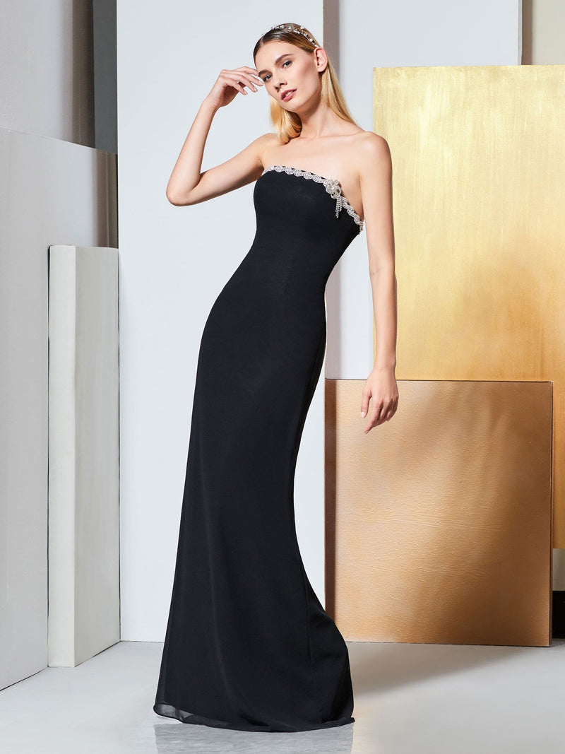 Strapless Beading Sheath/Column Floor-Length Formal Dress