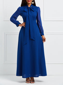 Bow Collar Patchwork Long Sleeve Expansion Maxi Dress