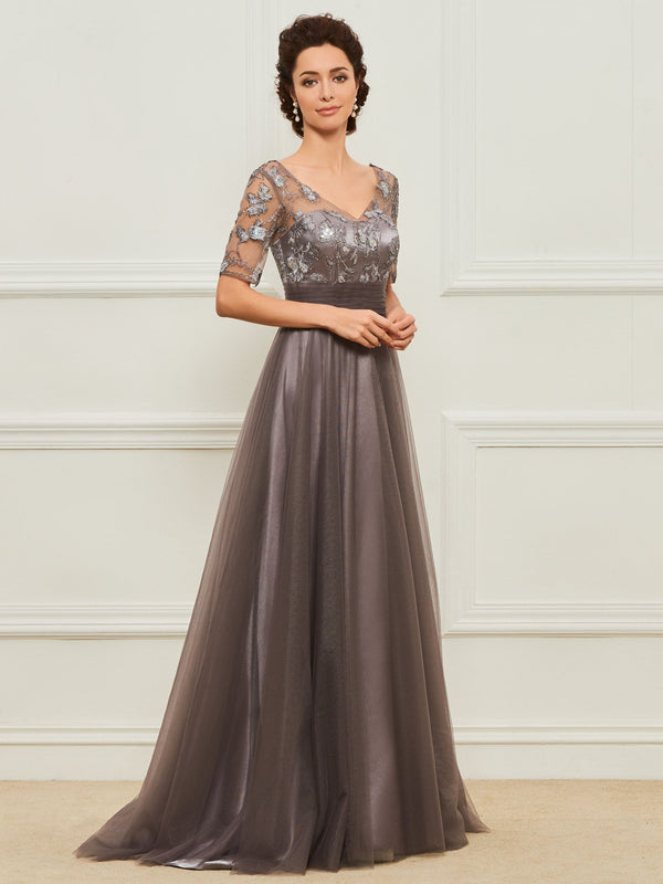 Short Sleeves Lace V-Neck Floor-Length Mother Of The Bride Dress