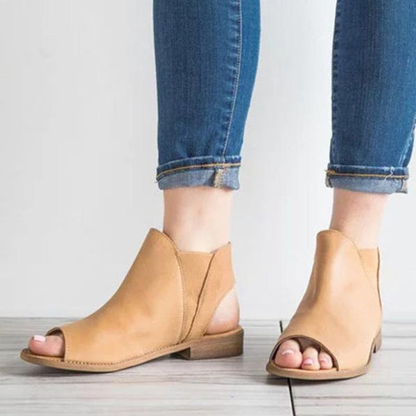 Block Heel Peep Toe Slip-On Western Casual Sandals