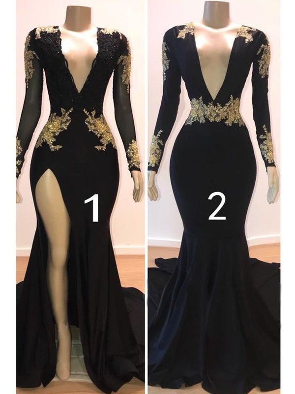 Sexy Black Long Sleeves V-Neck Appliques Floor-Length Evening Dress
