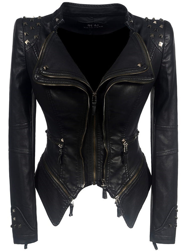 Black Skinny Rivet Lapel Short Plus Size Women's PU Jacket