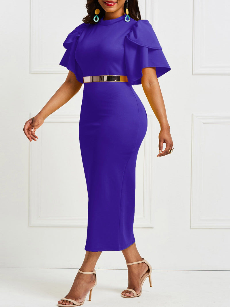 Mid-Calf Ruffle Short Sleeve Stand Collar Bodycon Party Dress