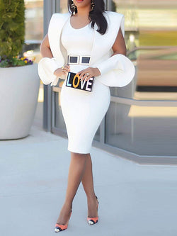 Round Neck Long Sleeve Patchwork Plain Bodycon Dress