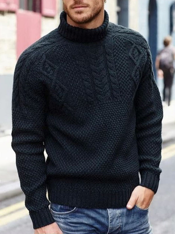 Plain Stand Collar Standard Casual Fall Sweater