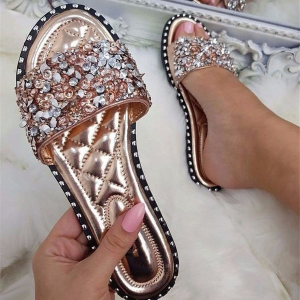 Flat With Rhinestone Flip Flop Women's Summer Casual PU Slippers