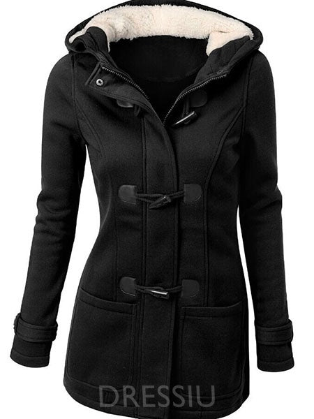 Solid Color Horn Button Hooded Women's Overcoat