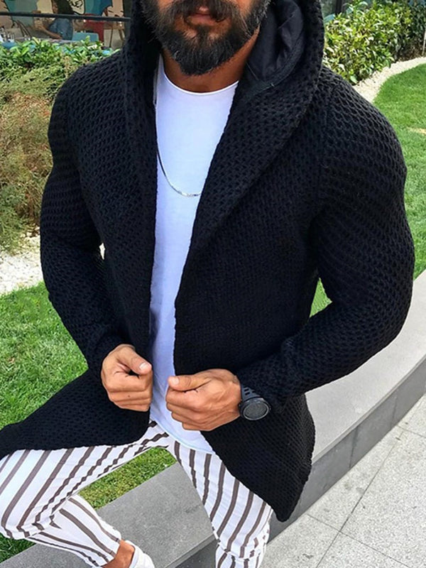 Hooded Plain Mid-Length Winter Casual Sweater