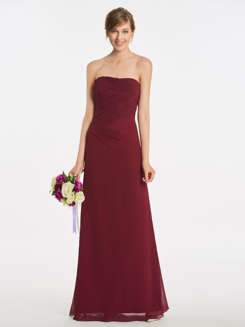 Sleeveless Strapless Floor-Length Sheath/Column Evening Dress
