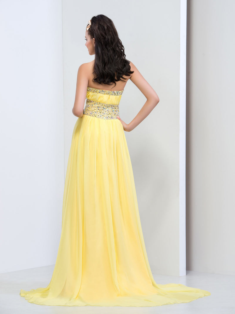 A-Line Crystal Sleeveless Halter Yellow Long Prom Dress
